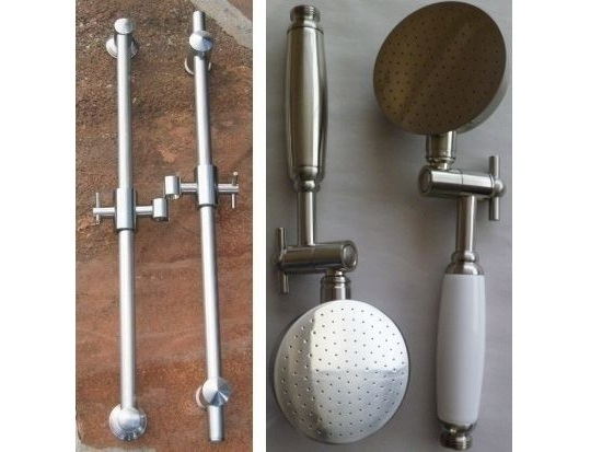 Solid Brass Slide Rails with Aussie Handshower Set