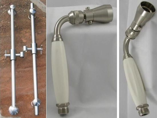 Solid Brass Slide Rails with Jet Handshower Set