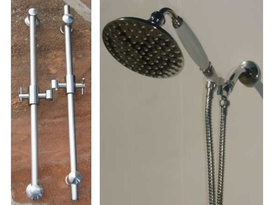 "Solid Brass Slide Rails with 5"" Euro Handshower Set"